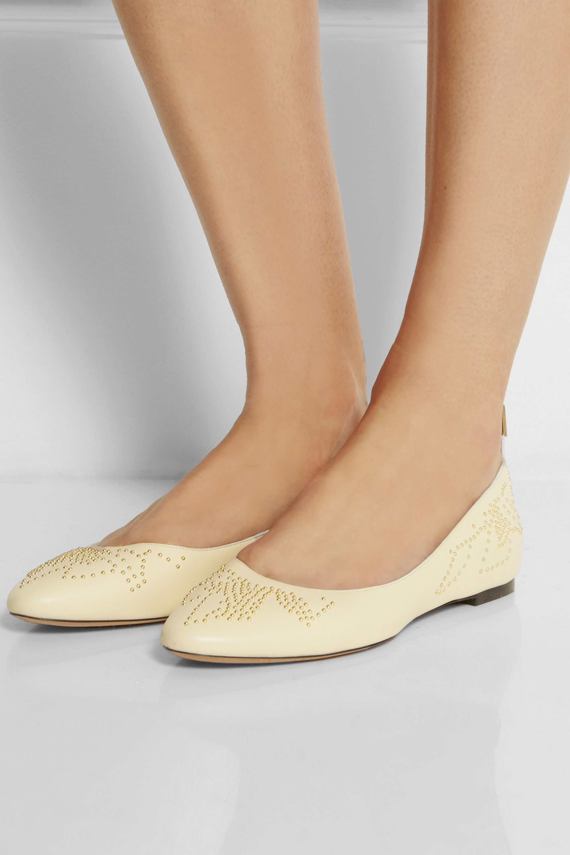 Cream Studded leather ballet flats