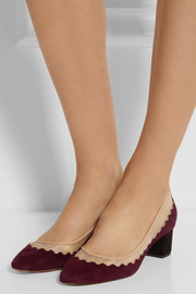 Chloé Leather-trimmed suede and mesh pumps