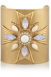 Tory Burch Selma gold-plated, crystal and resin cuff