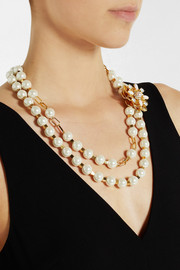 Tory Burch Tilde gold-plated, faux pearl and crystal necklace