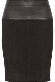 Narciso Rodriguez Leather-trimmed suede pencil skirt
