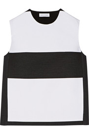 Narciso Rodriguez Paneled satin and twill top