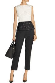 Narciso Rodriguez Paneled cotton and silk-blend peplum top
