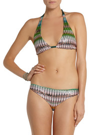 Missoni Metallic crochet-knit triangle bikini