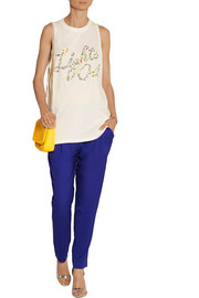 3.1 Phillip Lim Studded cotton-jersey and silk crepe de chine tank