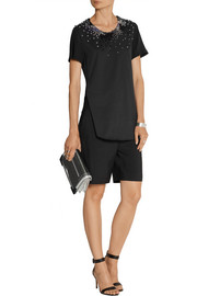 3.1 Phillip Lim Embellished cotton-jersey and silk-georgette top