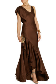 Jason Wu Asymmetric ruffled satin-crepe gown