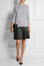 Adam Lippes Pleated leather and organza skirt