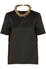 Adam Lippes Embellished duchesse-satin top