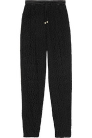 Guipure lace tapered track pants