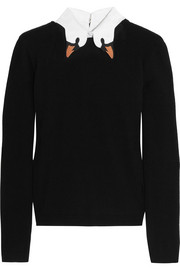 REDValentino Swan-collar stretch-knit sweater