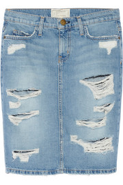Current/Elliott The Stiletto distressed denim pencil skirt