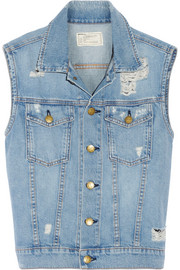 Current/Elliott The Sleeveless Rider distressed denim vest