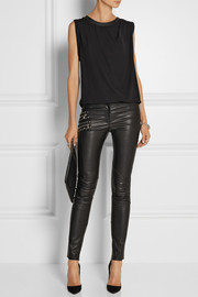 Versace Embellished mid-rise leather pants
