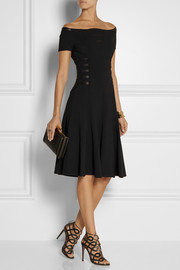 Versace Off-the-shoulder leather-trimmed crepe dress
