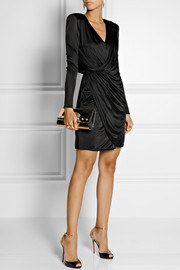 Versace Wrap-effect satin-jersey dress