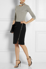 Versace Zip-detailed stretch-crepe pencil skirt