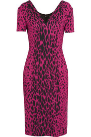 Versace Leopard-print stretch-crepe dress