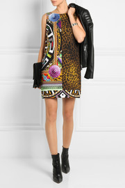 Versace Printed crepe mini shift dress