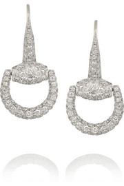 18-karat white gold diamond horsebit earrings