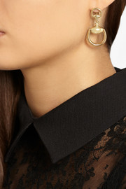 Gucci 18-karat gold horsebit earrings