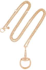 Gucci 18-karat rose gold horsebit necklace