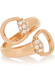 18-karat rose gold diamond horsebit ring