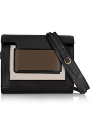 Color-block leather clutch