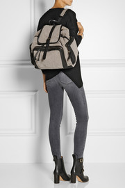 Pierre Hardy Leather-trimmed shearling backpack