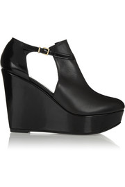 Filona cutout leather wedge boots