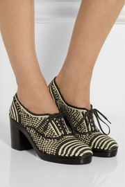 Robert Clergerie Cocto lace-up raffia pumps