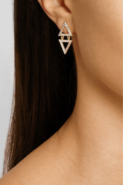Halleh 18-karat gold pavé diamond triangle earrings