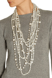 Kenneth Jay LaneGold-plated, crystal and faux pearl necklace