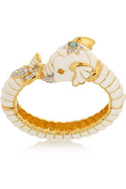 Kenneth Jay Lane Enameled gold-plated, crystal and resin elephant bracelet