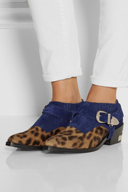 Toga Suede and leopard-print calf hair ankle boots