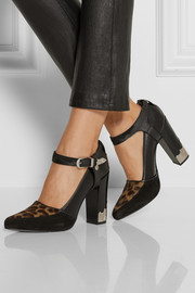 Leather, suede and calf hair pumps