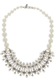 Kenneth Jay Lane Rhodium-tone, faux pearl and crystal necklace