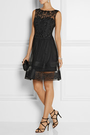 Notte by Marchesa Lace-trimmed embellished tulle dress