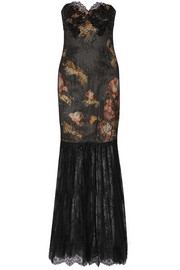 Notte by Marchesa Appliquéd lace and printed satin gown