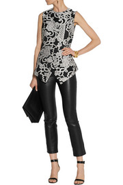 Lela Rose Lace-jacquard peplum top