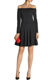 Lela Rose Off-the-shoulder paneled stretch-crepe dress