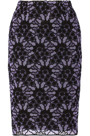 Lela Rose Embroidered cotton-blend lace pencil skirt