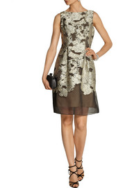 Lela Rose Floral metallic fil coupé dress