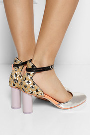 Sophia Webster Nika metallic leopard-print calf hair and leather pumps