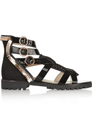 Sophia Webster Marnee embellished suede and patent-leather sandals