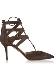 Aquazzura Belgravia cutout suede pumps