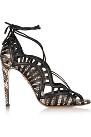 Aquazzura Lola lace-up elaphe and leather sandals