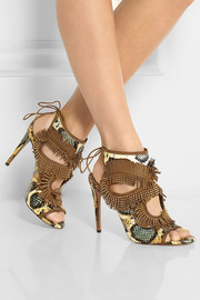 Aquazzura Studded fringed leather and elaphe sandals