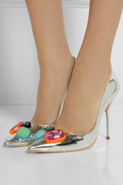 Sophia Webster Lola embellished metallic leather pumps