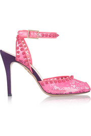 Charlotte Olympia Soho lace-print PVC and suede pumps